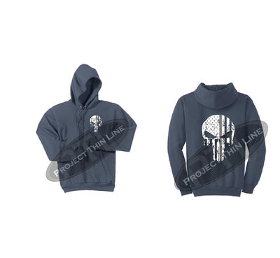 Steel Blue Thin SILVER Line Punisher Skull inlayed with the Tattered American Flag Hooded Sweatshirt