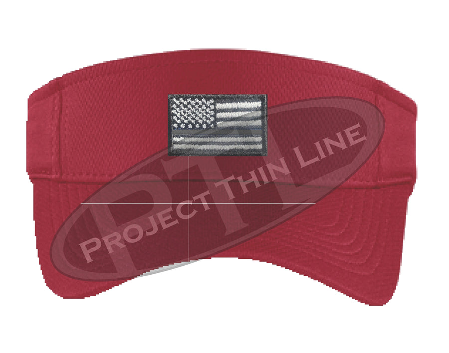 Black Embroidered Thin Silver Line American Flag Visor