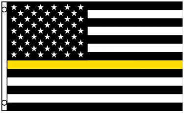 3' x 5' Poly USA Thin YELLOW Line American Flag