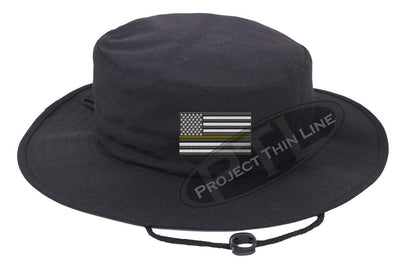 Black Boonie hat embroidered with a Thin Yellow Line Subdued American Flag
