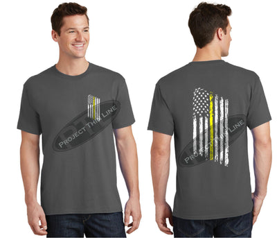 Charcoal Thin Yellow Line Tattered American Flag Short Sleeve Shirt