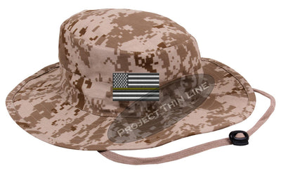 Desert Camo Boonie hat embroidered with a Thin Yellow Line Subdued American Flag