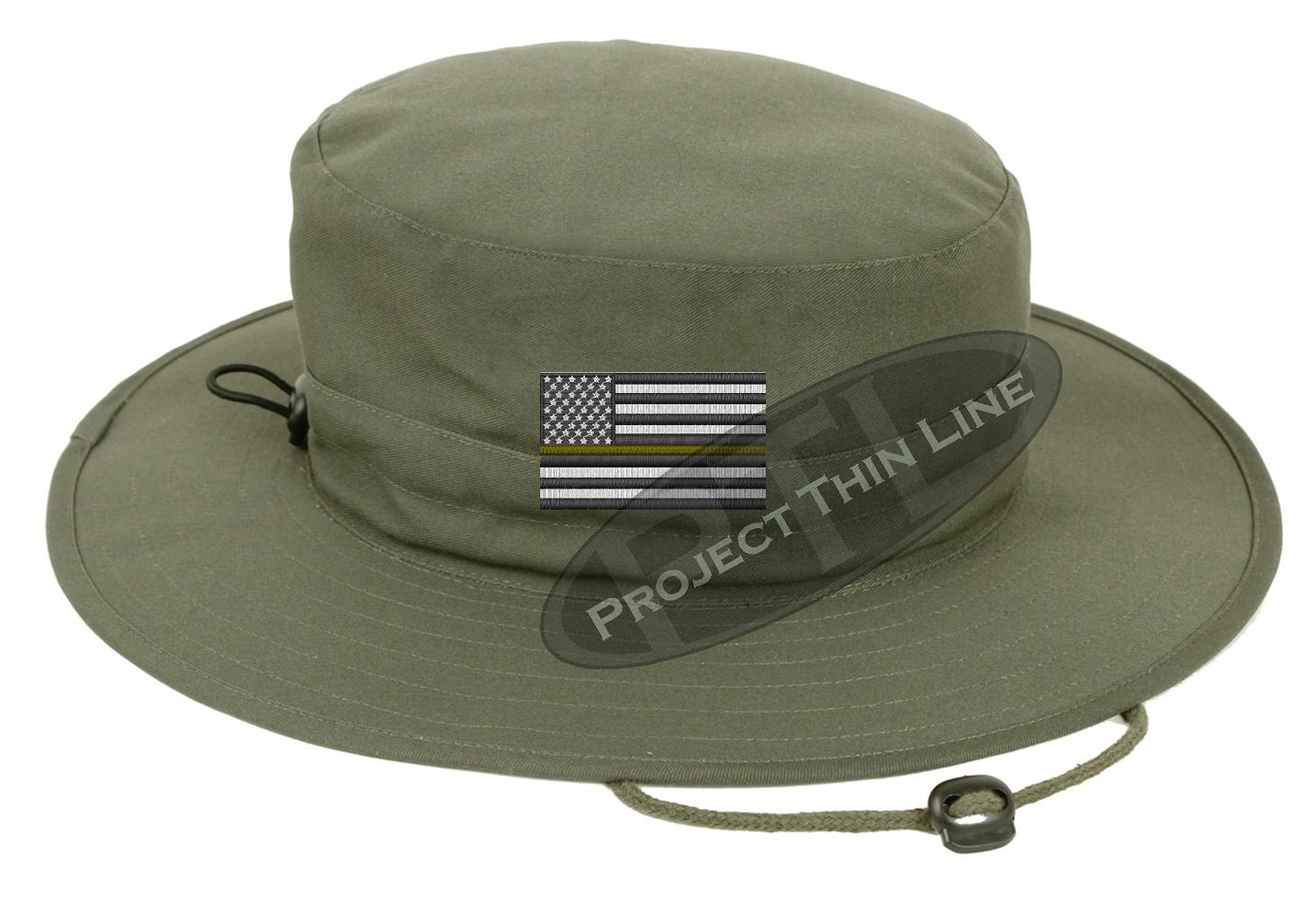 Olive Green Boonie hat embroidered with a Thin Gold Line Subdued American  Flag 8f1bd354c12