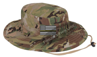 Jungle Camo Boonie hat embroidered with a Thin Yellow Line Subdued American Flag