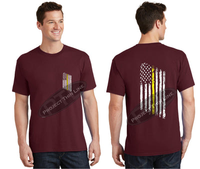 Maroon Thin Yellow Line Tattered American Flag Short Sleeve Shirt