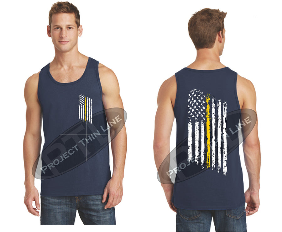 Black Thin Yellow Line Tattered American Flag Tank Top