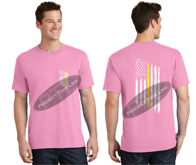 Pink Thin Yellow Line Tattered American Flag Short Sleeve Shirt