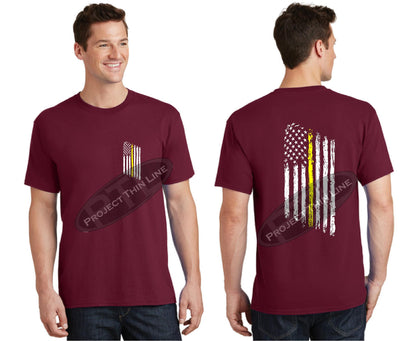 Red Thin Yellow Line Tattered American Flag Short Sleeve Shirt
