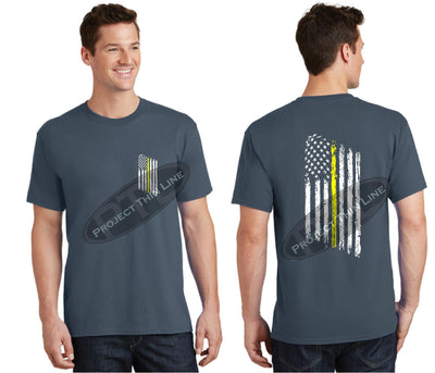 Steel Blue Thin Yellow Line Tattered American Flag Short Sleeve Shirt