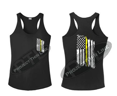 Black Tattered Thin Yellow Line American Flag Racerback Tank Top