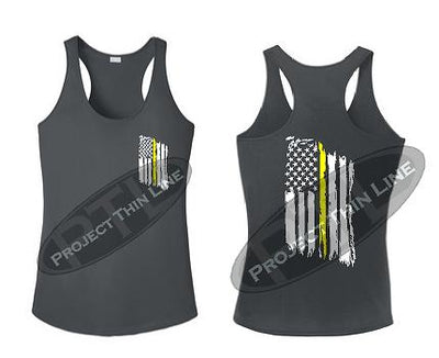 Charcoal Tattered Thin Yellow Line American Flag Racerback Tank Top