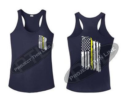 Navy Blue Tattered Thin Yellow Line American Flag Racerback Tank Top