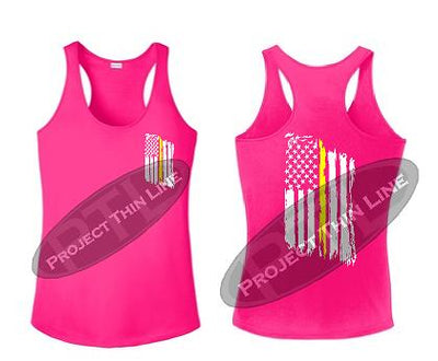 Pink Tattered Thin Yellow Line American Flag Racerback Tank Top