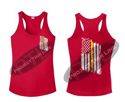 RED Tattered Thin Yellow Line American Flag Racerback Tank Top