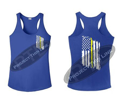Royal Blue Tattered Thin Yellow Line American Flag Racerback Tank Top