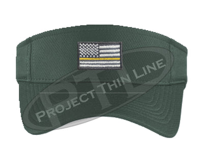Dark Green Embroidered Thin Yellow Line American Flag Visor