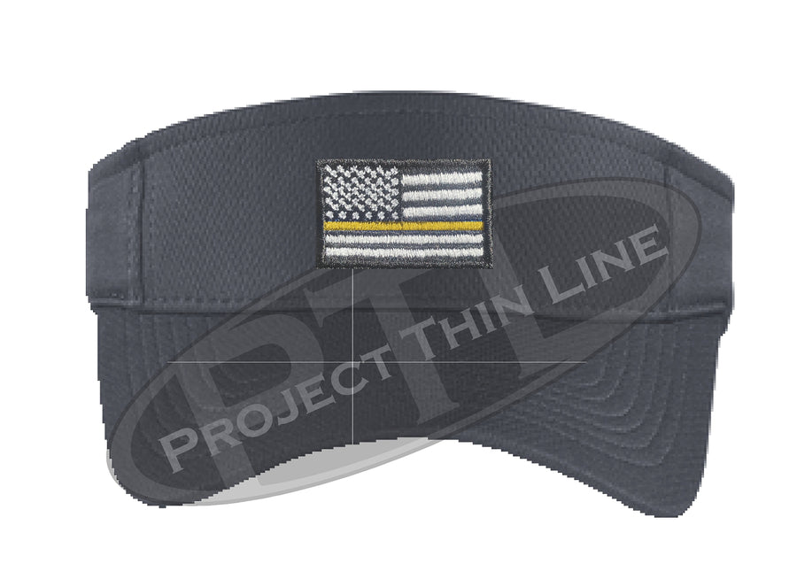 Black Embroidered Thin Yellow Line American Flag Visor