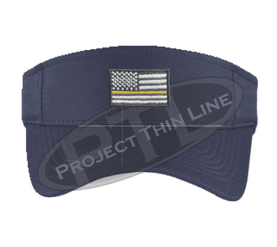 Navy Blue Embroidered Thin Yellow Line American Flag Visor