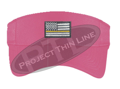 Pink Embroidered Thin Yellow Line American Flag Visor