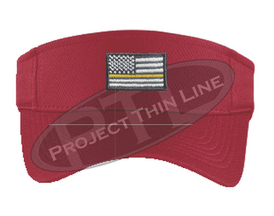 Red Embroidered Thin Yellow Line American Flag Visor