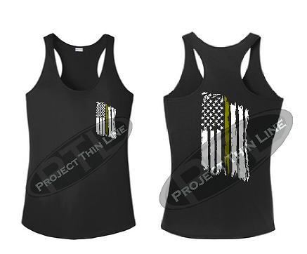 Black Tattered Thin GOLD Line American Flag Racerback Tank Top
