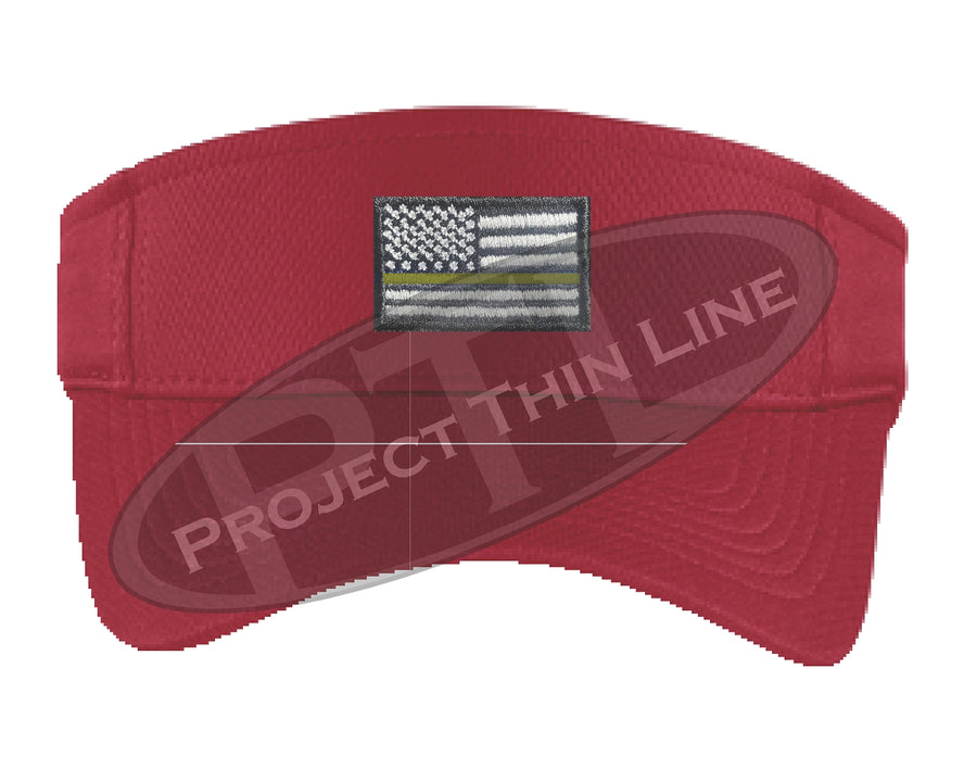 Black Embroidered Thin Gold Line American Flag Visor