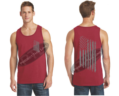 Red TACTICAL Tattered American FLAG Tank Top