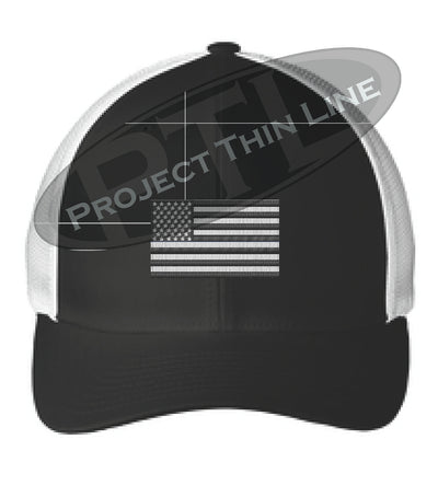 Black / White Embroidered Tactical / Subdued American Flag Flex Fit Fitted TRUCKER Hat