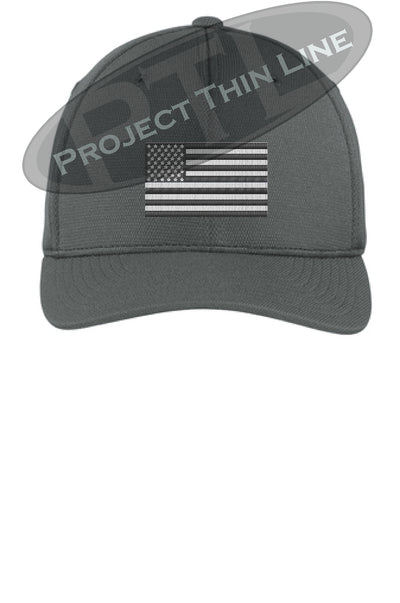 Graphite Embroidered Tactical / Subdued American Flag Flex Fit Fitted TRUCKER Hat