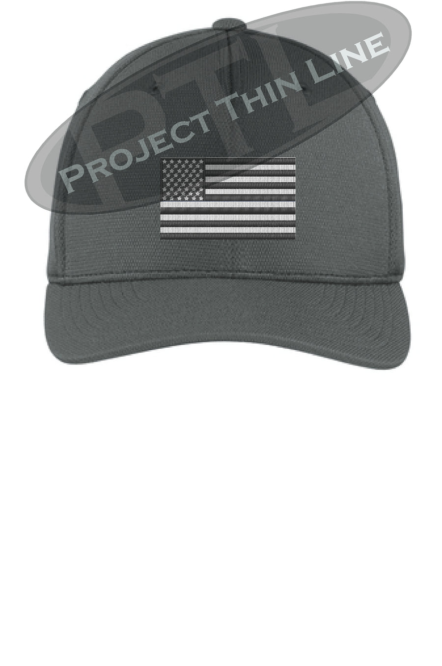 Black Embroidered Tactical / Subdued American Flag Flex Fit Fitted TRUCKER Hat