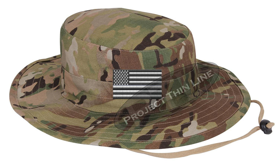 Embroidered TACTICAL Subdued Black and White American Flag Boonie Adjustable Hat