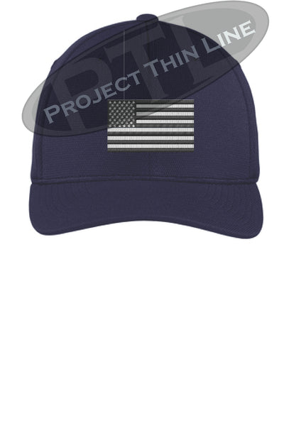 Navy Embroidered Tactical / Subdued American Flag Flex Fit Fitted TRUCKER Hat