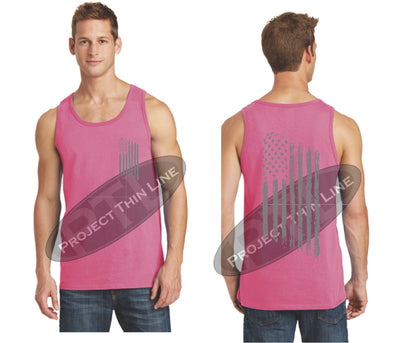 Pink TACTICAL Tattered American FLAG Tank Top