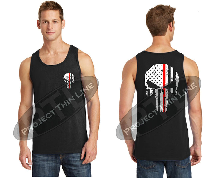 Black Thin RED Line Tattered Skull American Flag Tank Top