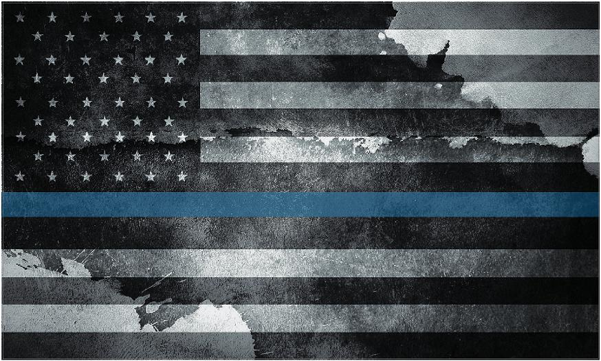 "5"" American Tattered Flag Thin Blue Line Shape Sticker Decal"