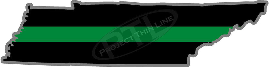 "5"" Tennessee TN Thin Green Line Black State Shape Sticker"