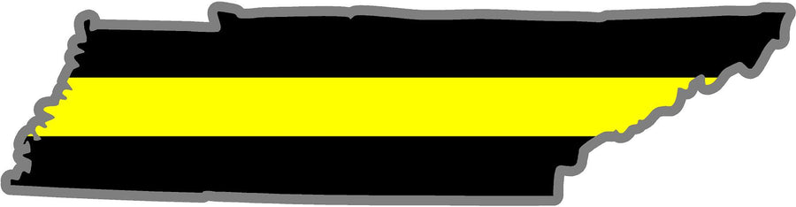 "5"" Tennessee TN Thin Yellow Line Black State Shape Sticker"