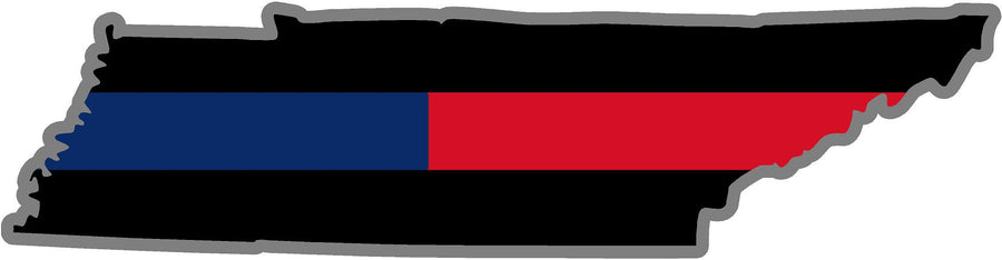 "5"" Tennessee TN Thin Blue / Red Line Black State Shape Sticker"