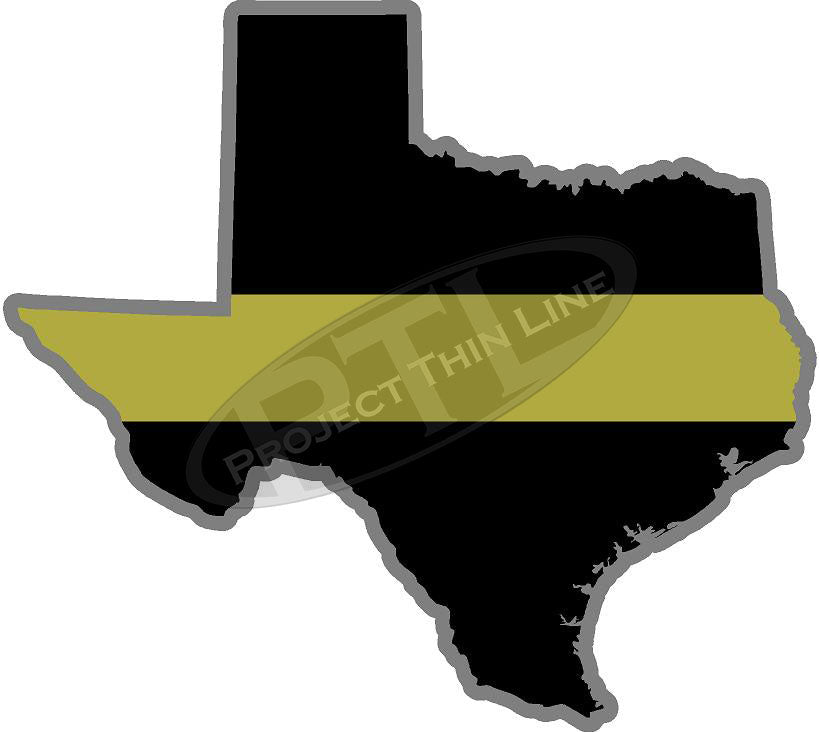 "5"" Texas TX Thin Gold Line State Sticker Decal"
