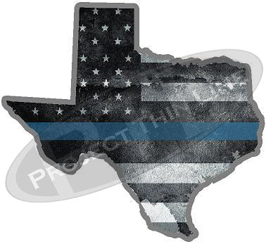 "5"" Texas TX Tattered Thin Blue Line State Sticker Decal"