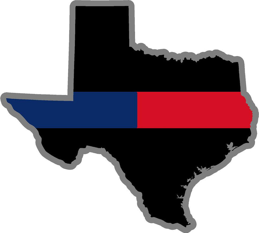 "5"" Texas TX Thin Blue / Red Line Black State Shape Sticker"