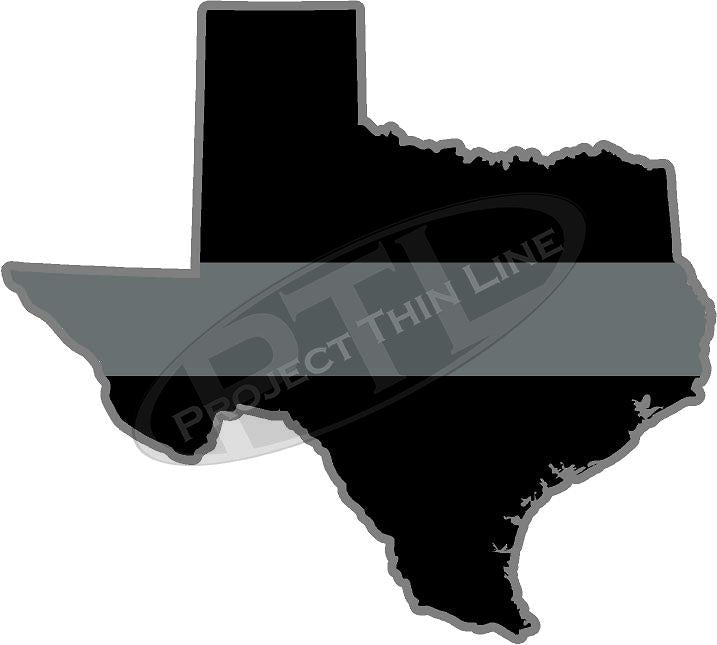 "5"" Texas TX Thin Silver Line Black State Shape Sticker"