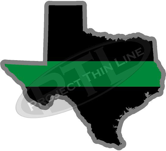 "5"" Texas TX Thin Green Line Black State Shape Sticker"
