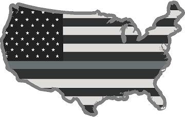 "5"" United States BW Thin SILVER Line State Shape Sticker Decal"