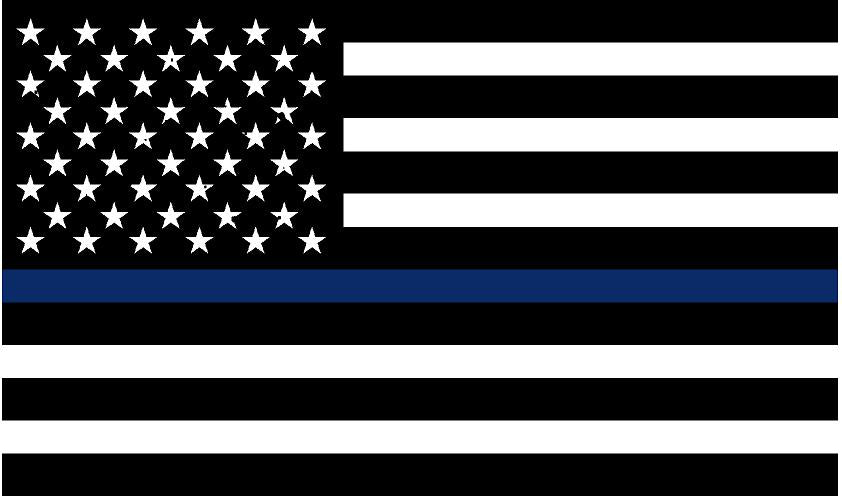 "5"" Black and White American Flag Thin Blue Line Shape Sticker"