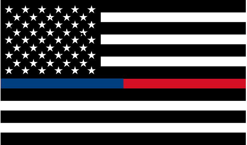 "5"" Black and White American Flag Thin Blue / Red Line Sticker"