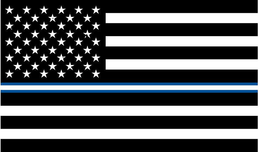 "5"" American BW Flag Thin Blue White Line Shape Sticker Decal"
