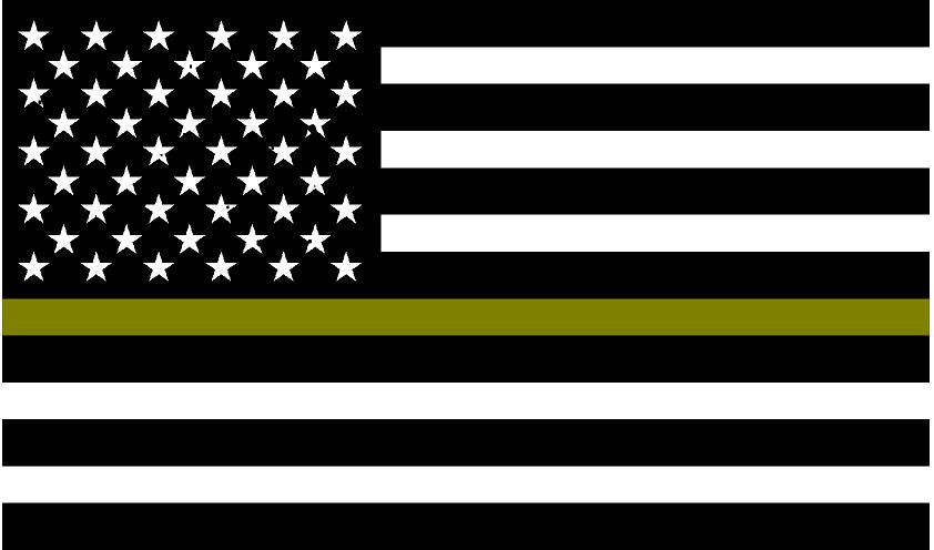 "5"" American BW Flag Thin GOLD Line Shape Sticker Decal"
