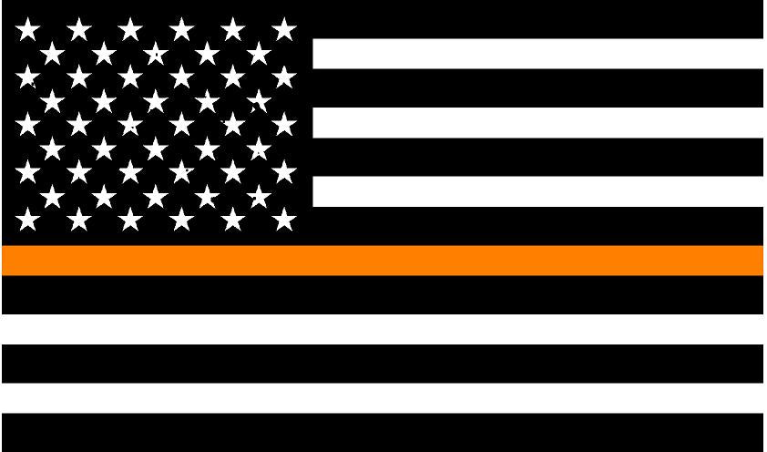"5"" American BW Flag Thin Orange Line Shape Sticker Decal"