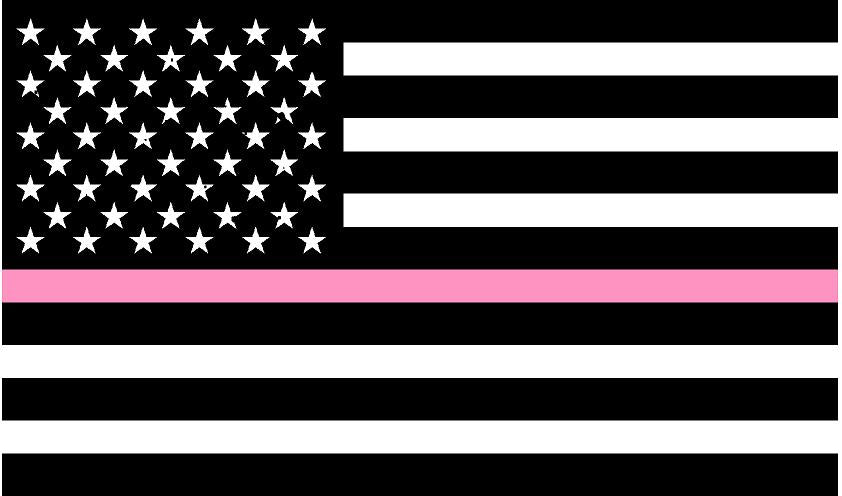 "5"" American BW Flag Thin Pink Line Shape Sticker Decal"